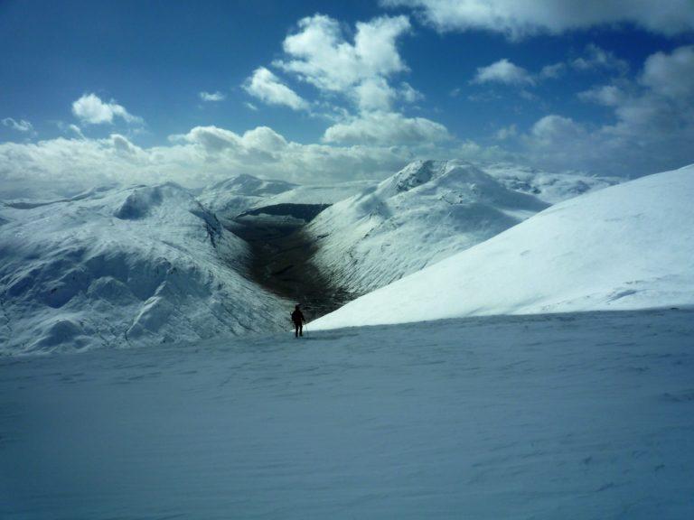Celia descending Beinn Mhanach, Scotland