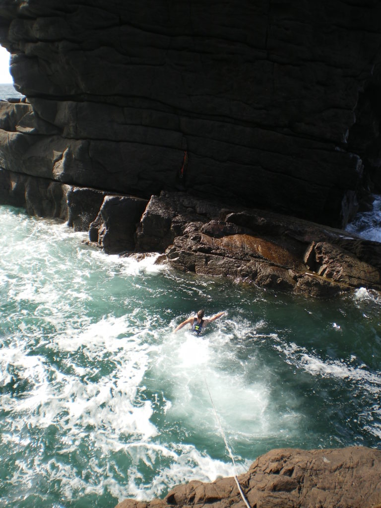Swimming to the base of the Old Man of Stoer