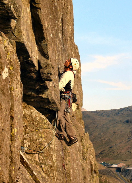 Colin on Maidenstone Buttress Maidens Cave