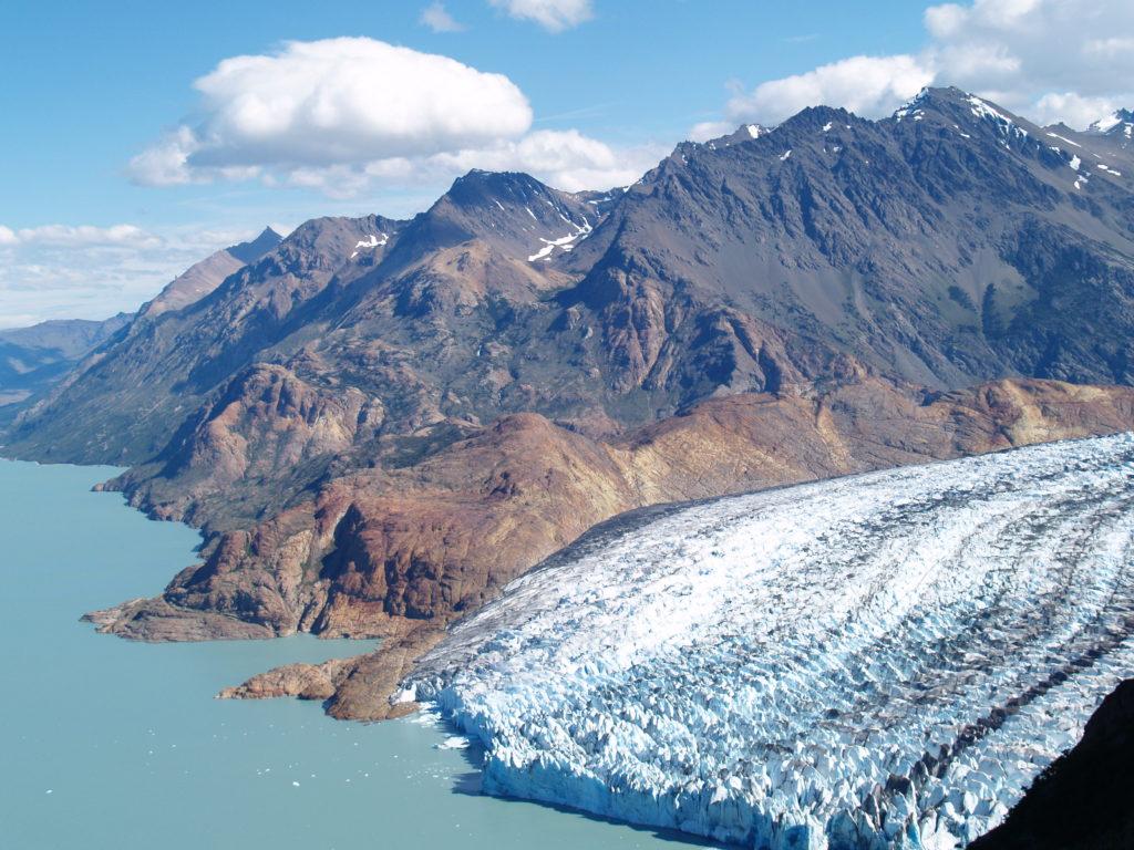 Glacier calving into the sea in Patagonia