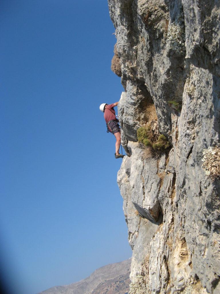 Stuart climbing in Kalymnos