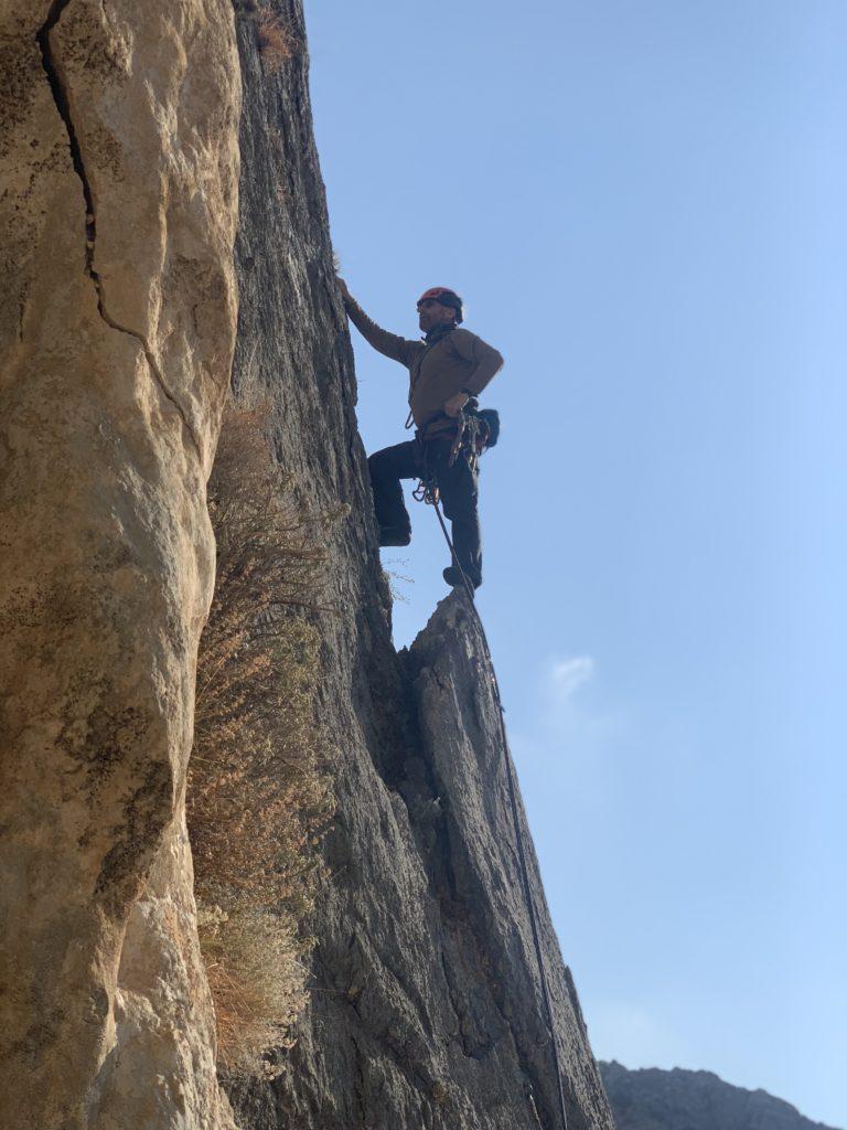 Geraint climbing in Kalymnos