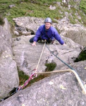 Jim climbing on Buckbarrow