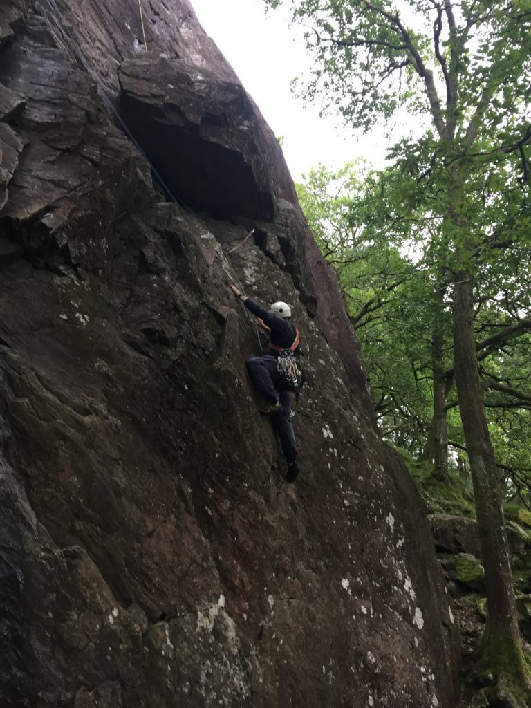 Stuart on Wodens Face Direct, Borrowdale