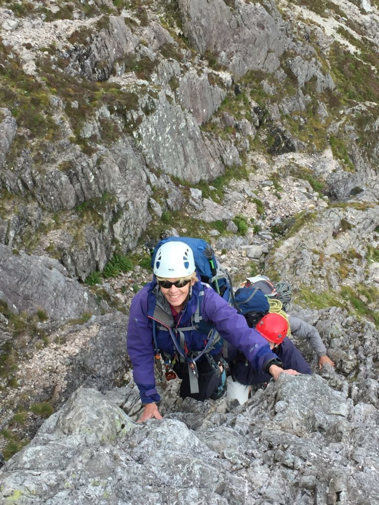 Celia and other members on Curved Ridge, Buachille Etive Mor
