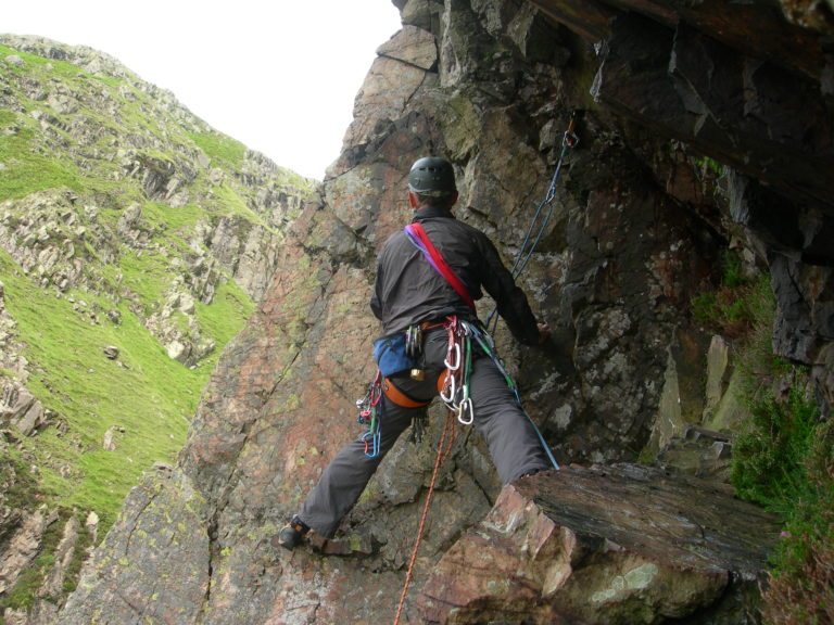 Bob heading for the crux on Slip Knot White Ghyll