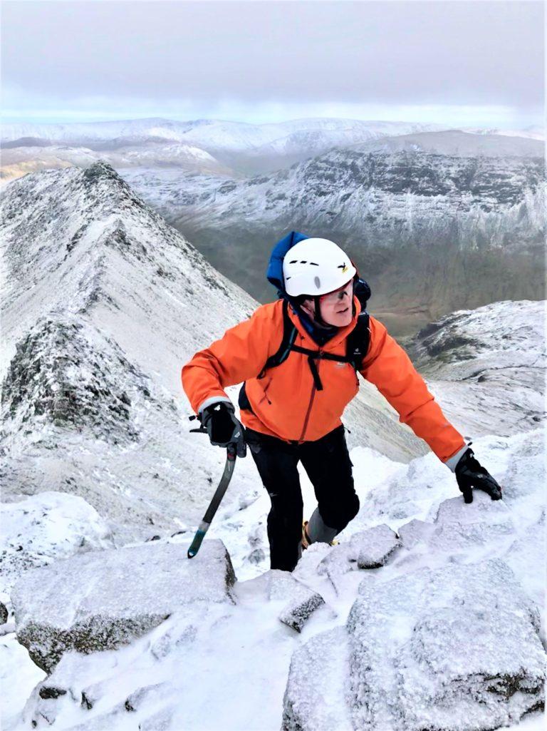 Brendan on Striding Edge - KMC Winter Scramble