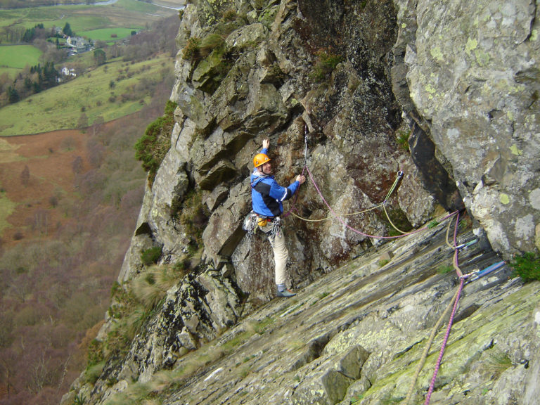 Andy on Troutdale Pinnacle, Borrowdale (in the wet)