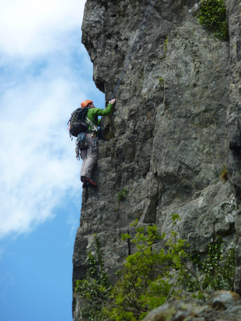 Mark climbing at Cromlech (N Wales Meet)