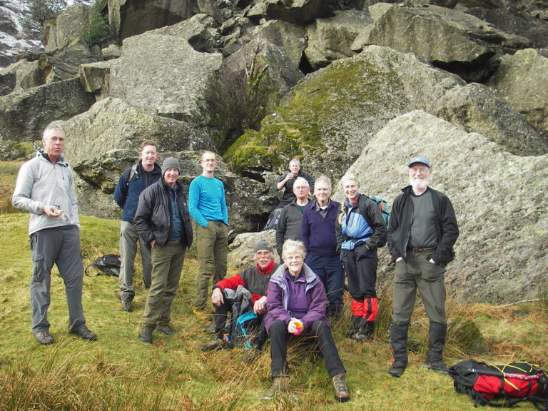 Club members at base of Cam Crag Ridge (Winter scramble)