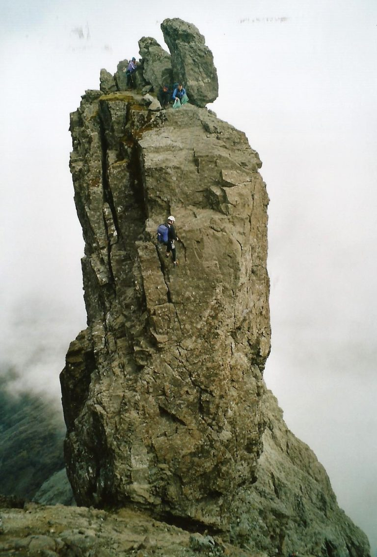 The abseil off the Inaccessible Pinnacle, Skye