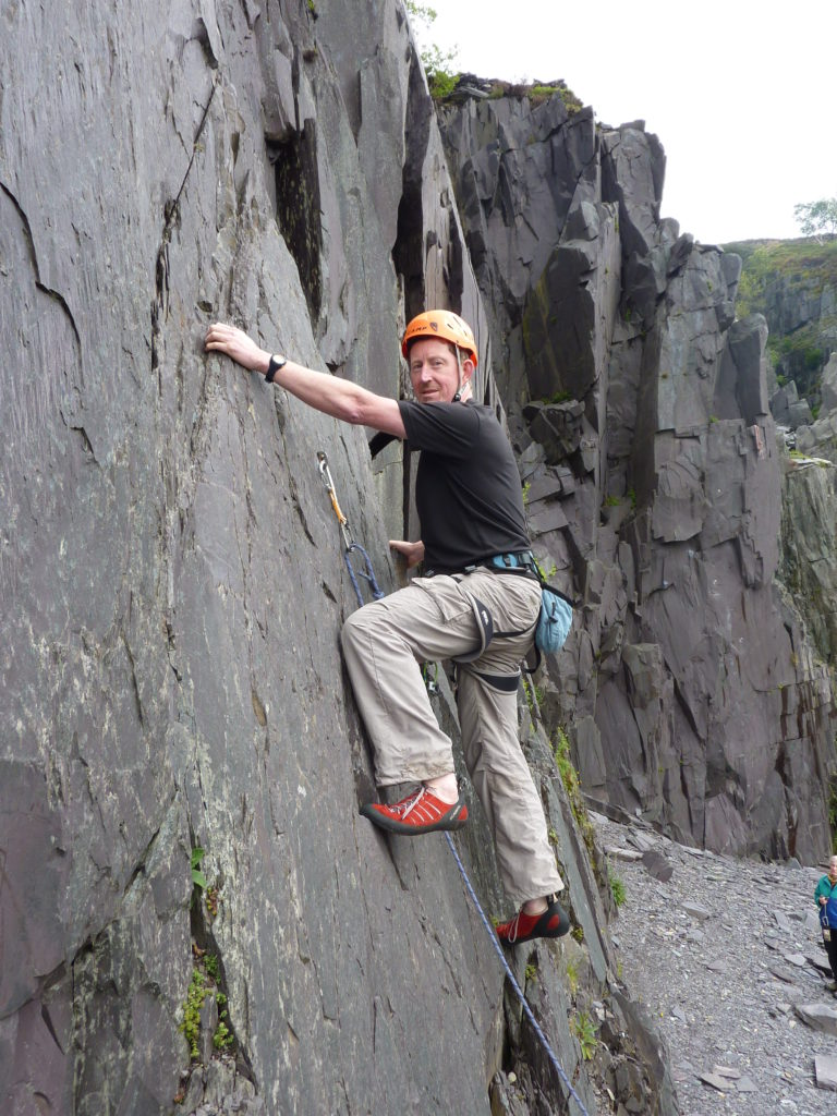 Mark climbing on the slate (N Wales Meet)
